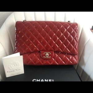 Chanel Maxi double flap in red patent leather